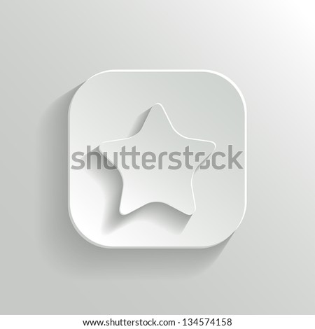 Star icon - vector white app button with shadow