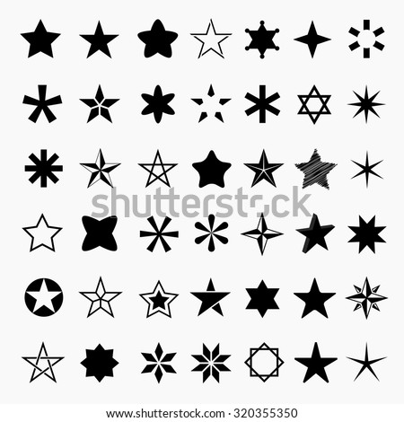 Star icons and pictogram. Concept rating, success, awards. Collection black star shapes Isolated on a white background.
