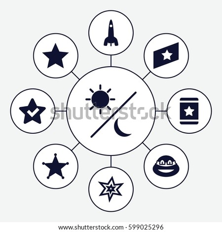 star icons set set of 9 star