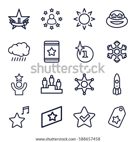 star icons set. Set of 16 star outline icons such as sun, explosion, star, favorite music, snowflake, sheriff, rank, ranking, ninja, tag, celebrity - Shutterstock ID 588657458
