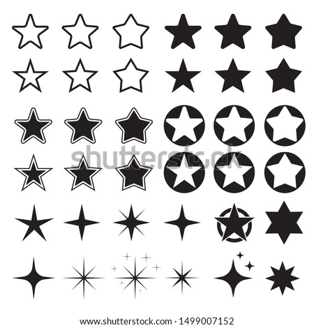 Star icons. Sparkles, shining burst. Vector symbols star isolated on white background