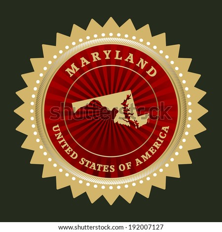 star label with map of maryland ...