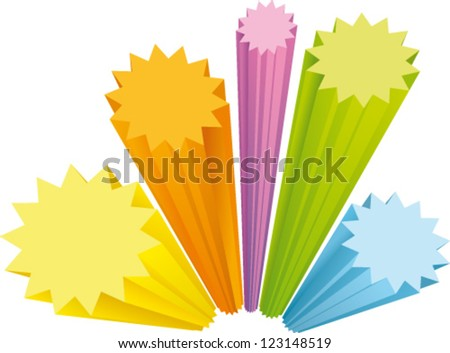 Star labels in 4 colors with three-dimensional perspective