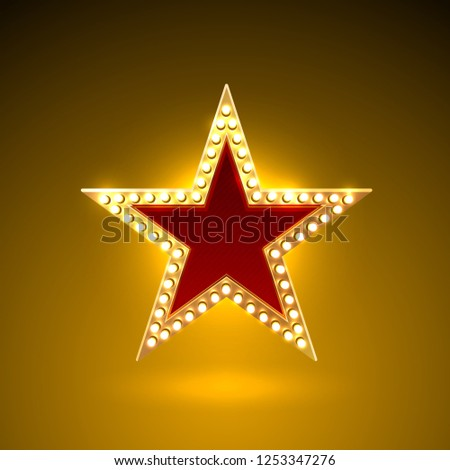 Star lamp icon golden sign. Vector illustration object #1253347276