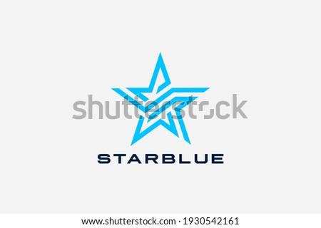 Star Logo abstract unusual hitech futuristic design vector template. Five point geometric star Linear outline concept icon symbol.