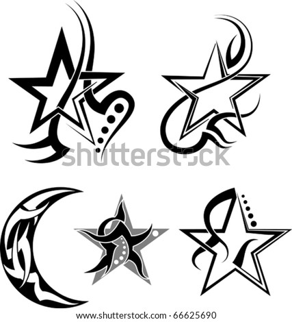 Moon  Star Tattoos on Star  Moon Tribal Tattoo Stock Vector 66625690   Shutterstock