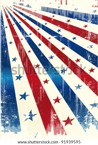 Star of america. A grunge tricolor US background for you. - stock vector