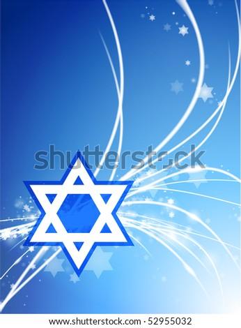 Star of David on Abstract Modern Light Background Original Illustration