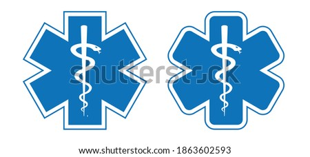 Star of life. Emergency medical services or technician paramedic. Staff of Asclepius or Caduceus, medical logo. Esculapsign icon. Health or medicine symbol snake. Flat vector symbol.