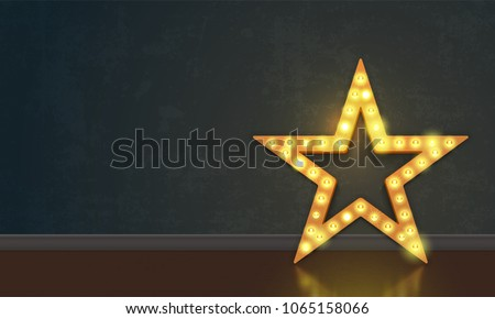 Star of lightbulb neon signboard on wall background. Vector abstract star of lamps #1065158066