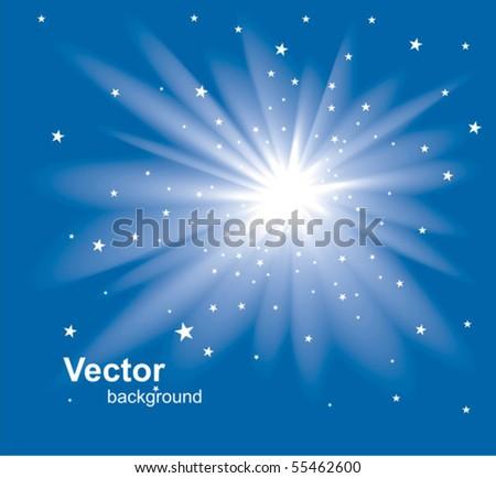 Star on a blue sky.