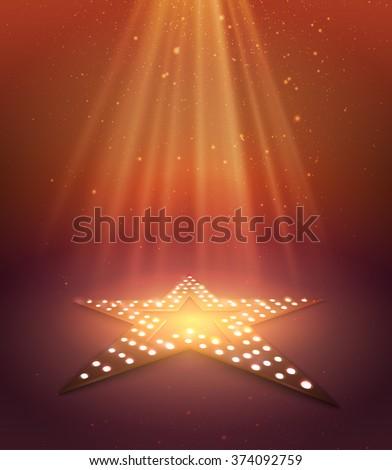 Star orange retro light banner. Vector illustration