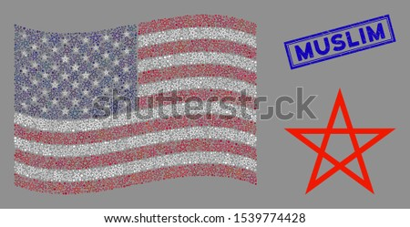 Star pentagram icons are combined into USA flag abstraction with blue rectangle distressed stamp watermark of Muslim caption.