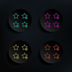 Star, plus, remove, minus sign dark badge color set icon. Simple thin line, outline vector of web icons for ui and ux, website or mobile application
