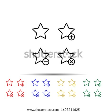 star, plus, remove, minus sign multi color style icon. Simple thin line, outline vector of web icons for ui and ux, website or mobile application