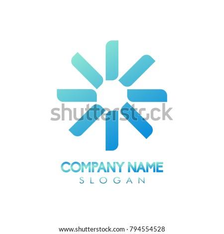 Star propeller unique abstract logo icon design concept for brand company identity