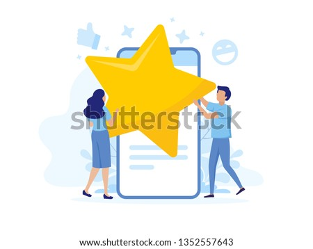 Star rating. Businessmen are holding a gold star in hands. Modern flat illustration of success. Concept of evaluation. Rating of the hotel, restaurant, mobile. Golden and blue colors.