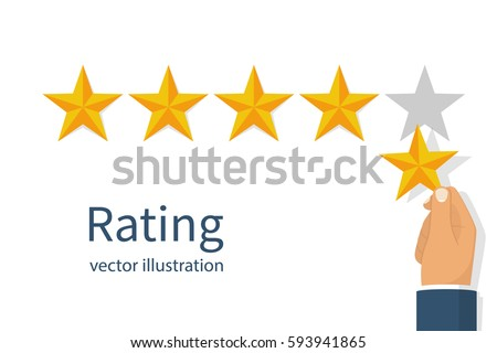 Star rating. Holding a gold star, to give five. Feedback concept. Evaluation system. Positive review. Vector illustration flat design. Isolated on white background. Quality work.