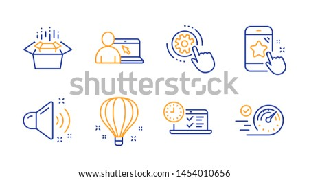 Star rating, Loud sound and Cogwheel settings line icons set. Online education, Packing boxes and Air balloon signs. Online test, Speedometer symbols. Phone feedback, Music. Technology set. Vector ストックフォト ©
