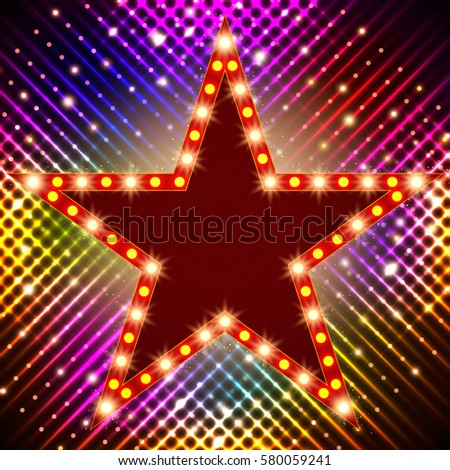 star retro light banner on