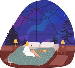 Star room roof, night sky window, house interior decoration, modern architecture, design, cartoon style vector illustration.