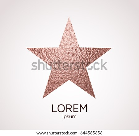 Star Rose Gold Foil Texture Element Pink Sparkle Glossy Frame Walk Of Fame Hollywood