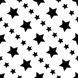 Star Seamless Pattern black color with large and smaller star.