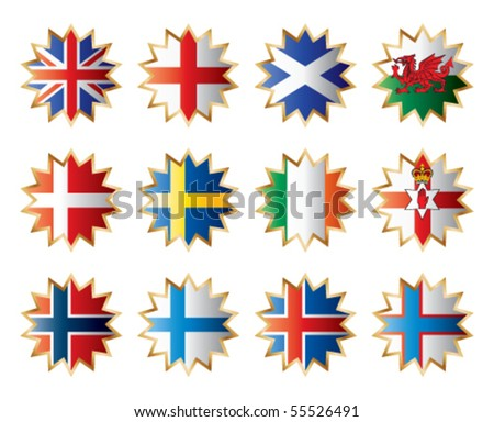 Star shape flags - Northern Europe. Vector set.