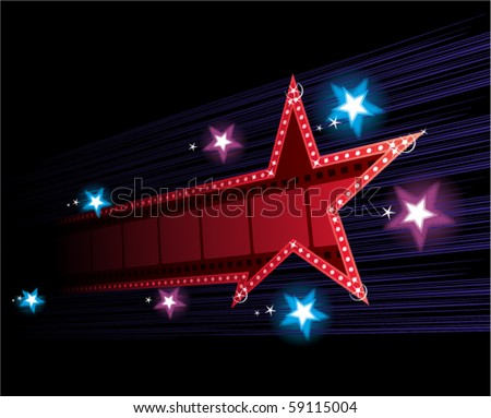 star shape neon for poster at