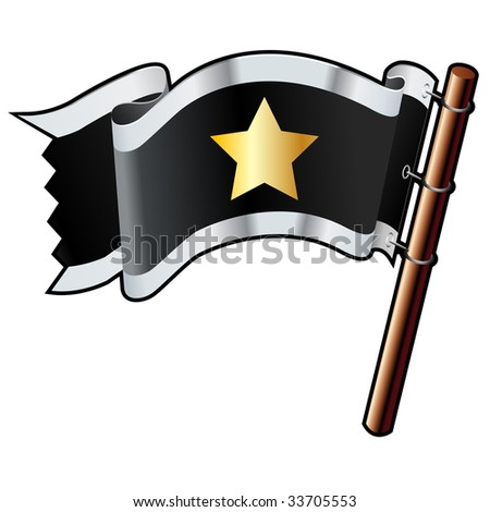 Star shape on black, silver, and gold vector flag good for use on websites, in print, or on promotional materials