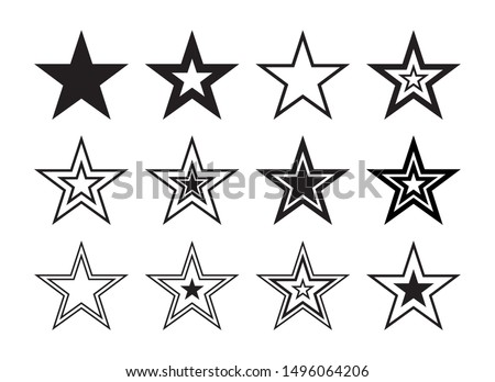 Star Shape Outline Graphic Silhouette Set