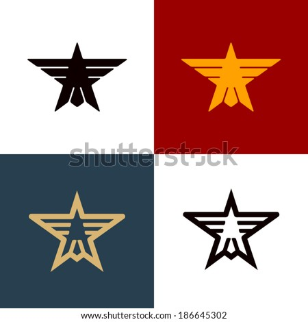 star shape with eagle vector