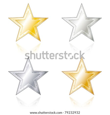 Star shaped metal badges in gold, silver, bronze and steel look.