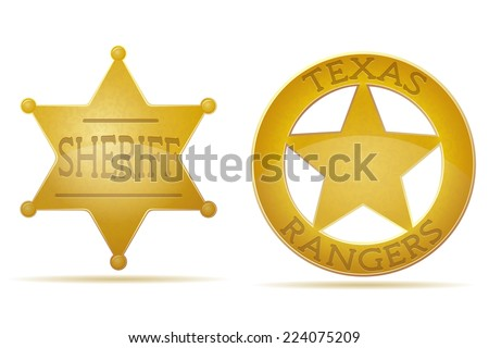 star sheriff and ranger vector illustration isolated on white background