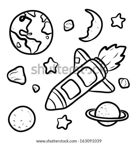 Star Cartoon Drawing Star Ship And Universe