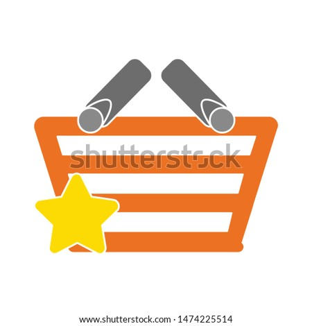 star shopping basket icon. flat illustration of star shopping basket vector icon. star shopping basket sign symbol