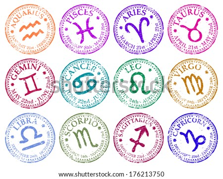 Star sign rubber stamp vector illustrations