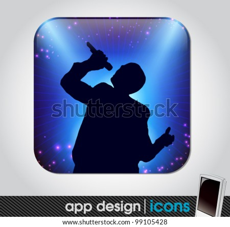 star singer at the concert app icon for mobile devices - stock vector