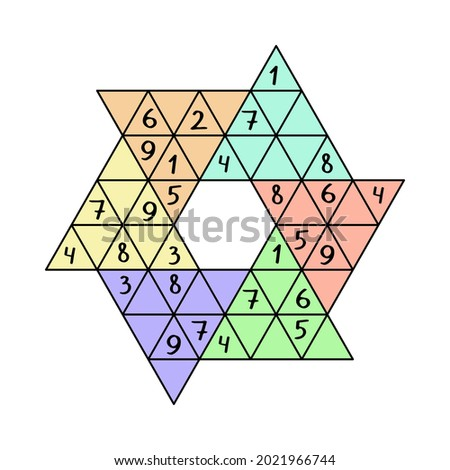 Star sudoku colorful vector illustration. Unusual sudoku game by 1-9 numbers. Place it one similar number into each big colorful triangle, and into each nine-digit horizontal and diagonal lines
