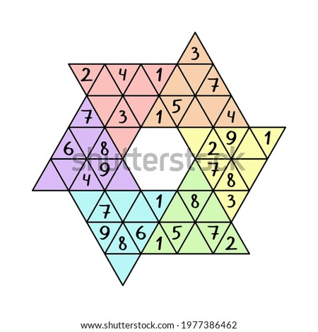 Star sudoku game for children colorful printable worksheet vector illustration. Unusual triangular logic number game. Place numbers from 1 to 9 in cells of each large triangle and each line just once