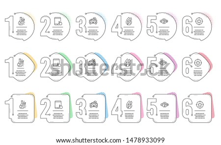 Star target, Tablet pc and Car leasing line icons set. Infographic timeline. Chemistry lab, Quiz test and Hypoallergenic tested signs. Winner award, Touchscreen gadget, Transport discount. Vector