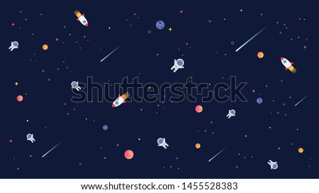 Star universe with rocket, astronaut and planet in galaxy background pattern illustration. Flat design for kid.