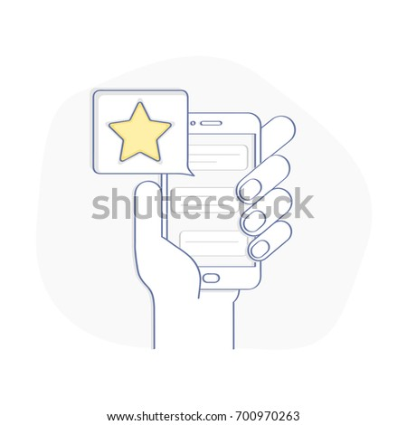 Star - user rating, bookmark and evaluation icon in the bubble over mobile phone. Social media concept of user opinion, review, feedback. Flat line vector illustration, UX / UI element for web design