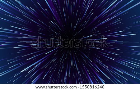 Star warp. Hyperspace jump, traces of moving stars light and interstellar fast speed travel. Wormhole space tunnel abstract vector background illustration