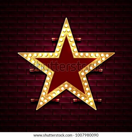 Star with light bulbs on the background of the brick wall. Vector illustration