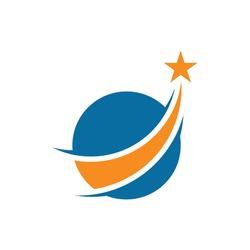 star world way logo icon vector flat concept design
