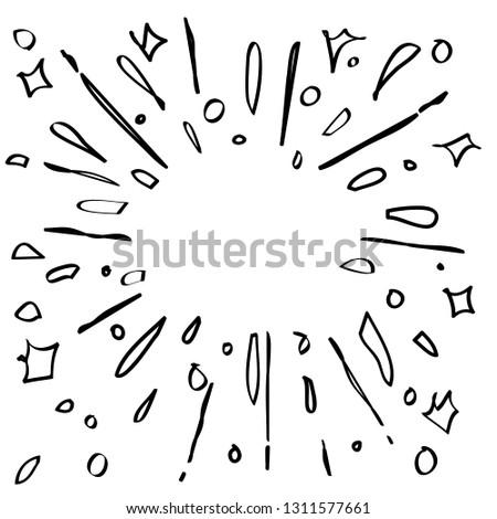 starburst hand drawn element vector