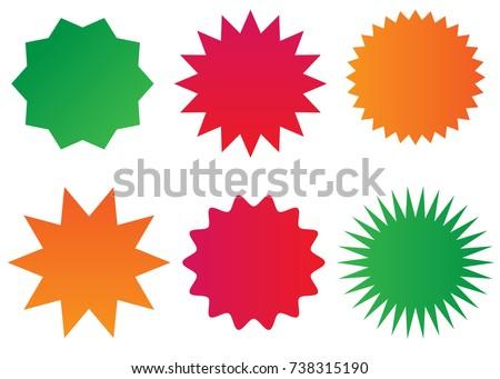 Starburst isolated icons set (sunburst badges).
