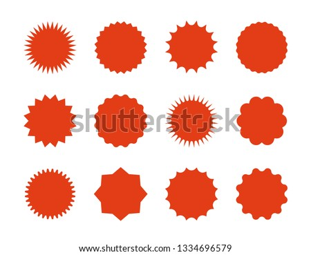 Starburst price stickers. Star sale banners, red explosion signs, sunburst speech bubbles. Vector set red silhouettes on white backgrounds #1334696579