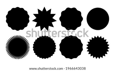 Starburst promo black sticker shape vector sale splash. Starburst round badge promo sticker Photo stock ©